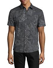 Tropical-Print Cotton Sport Shirt