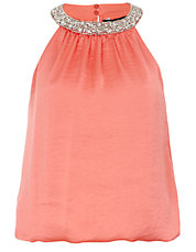 Coral Embellished Cut Away Bubble Top
