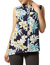 Navy Dot Floral Sleeveless Top
