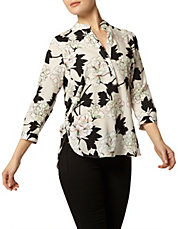 Black, White And Gold Large Floral Rollsleeve Shirt