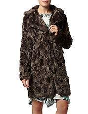 Long Line Faux Fur Boyfriend Coat