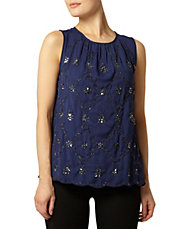 Navy Embellished Swing Top