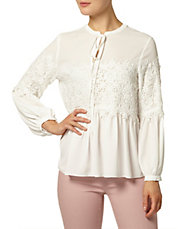 Long Sleeve Lace Pussybow Blouse