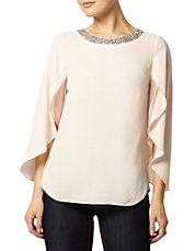Blush Fluted Sleeve Top