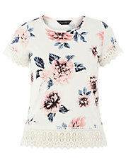 Ivory Floral Lace Trim Tee