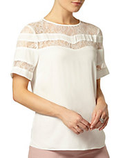 Luxe Cream Lace Insert Blouse