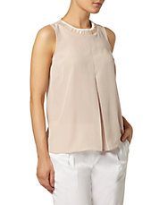 Nude Embellished Pleat Shell Top