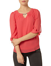 Billie and Blossom Watermelon Trim Blouse