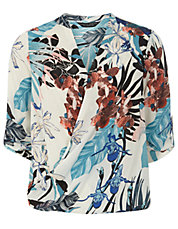 Tropical Printed Crossover Blouse