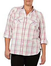 Plus Checked Roll-Tab Sleeve Shirt