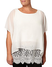Plus Lace Hem Overlay Top