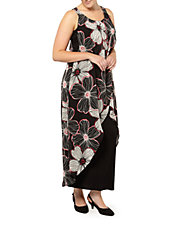 Plus Floral Overlay Maxi Dress