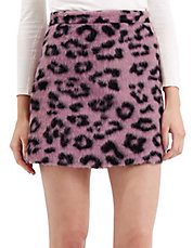 Fluffy Animal Print A-Line Skirt