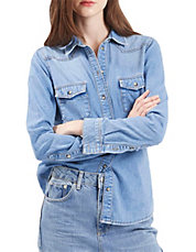MOTO Fitted Western Denim Shirt