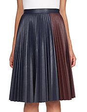 Faux Leather Colorblocked Pleated Skirt