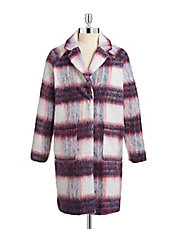 Wool Blend Oversize Plaid Coat