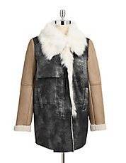 Colourblock Sherpa Cocoon Coat