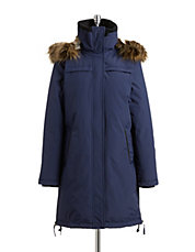 Faux Fur Side Zip Down-Fill Parka