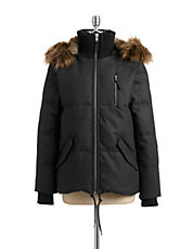 Faux Fur Woolen Down-Fill Parka