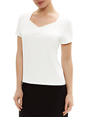 Pleated Neck Jersey Top