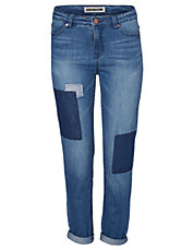 Lotus Patched Straight Leg Jeans