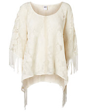 Fringed Lace Poncho Top