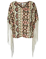 Woven Poncho Fringe Top