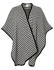Plus Houndstooth Knit Poncho
