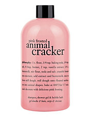 pink frosted animal cracker shampoo shower gel and bubble bath