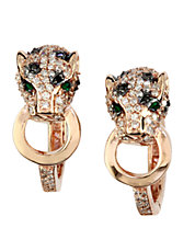 14K Rose Gold White and Black Diamond with Emerald Earrings