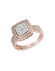 14K White and Rose Gold 0.75ct Diamond Ring