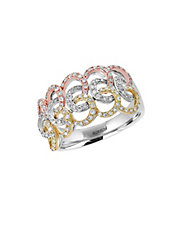 14K Tri-Color Gold and Diamond Interwoven Ring