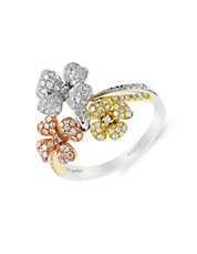 14K Tri-Color Gold and Diamond Floral Ring