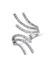 14K White Gold Fan-Shaped Diamond Ring