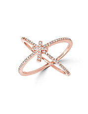 14K Rose Gold and Diamond Cross Accent Ring