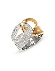 14k Two-Tone Diamond Loop Ring