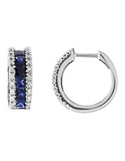 14K White Gold Diamond And Sapphire Hoop Earrings