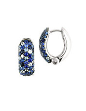 Sterling Silver And Multi Blue Sapphire Hoop Earrings