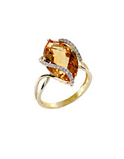 14 Kt Gold Diamond Accented Citrine Ring