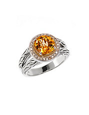 Sterling Silver and 18k Gold  Citrine and Diamond Ring