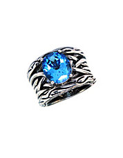 Sterling Silver Blue Topaz Weave Ring