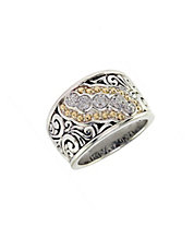 Sterling Silver  18K Yellow Gold And Diamond Ring