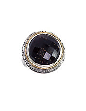 18K Yellow Gold and Silver Onyx Ring