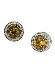Sterling Silver 18K Yellow Gold Diamond And Citrine Earrings