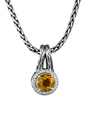 Sterling Silver and 18k Gold  Citrine and Diamond Pendant