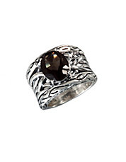 Sterling Silver Smokey Quartz Weave Ring