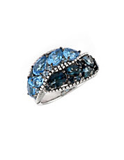 Sterling Silver Ring Shades of Blue Topaz