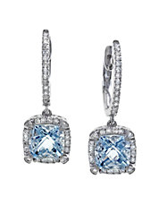 14K White Gold 0.26Ct. Diamond and 1.70ct. Aquamarine Earrings