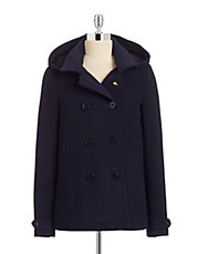 Wool Blend Peacoat with Hood