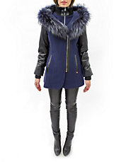 Mika Fur Contoured Hooded Wool Coat